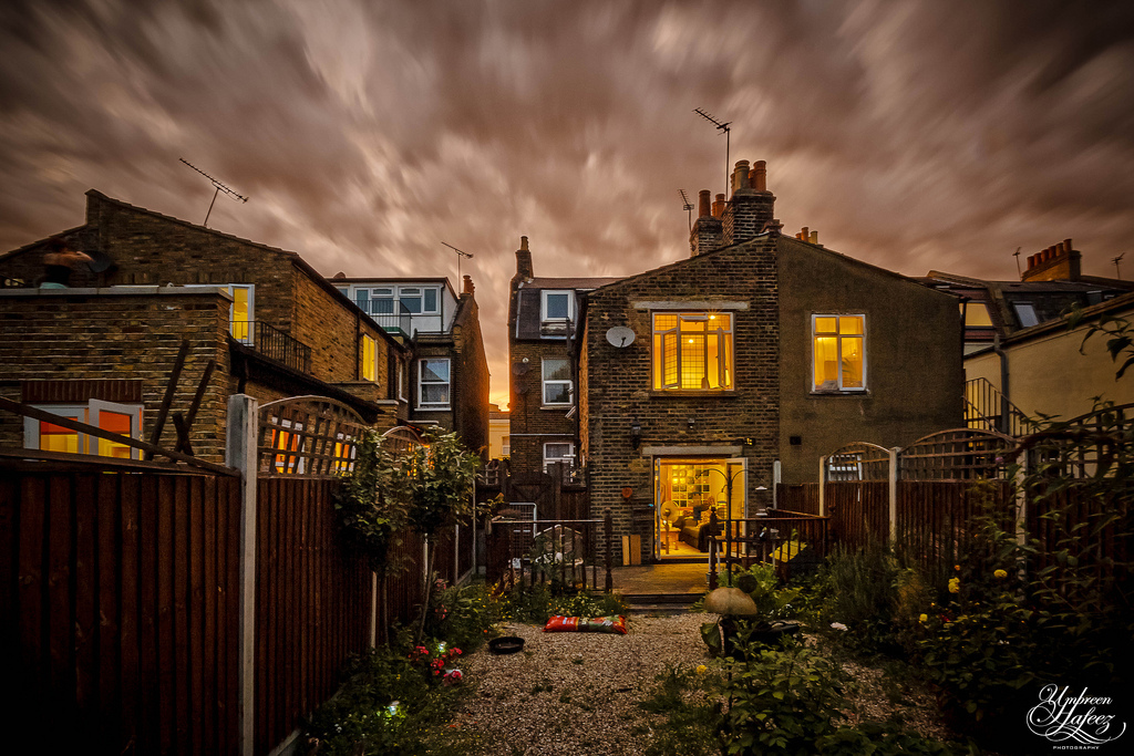 Storm clouds gather over a house in east London.