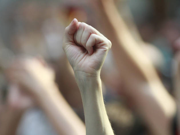 A fist raised in solidarity at a protest.