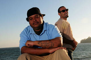 Promo shot of hip hop duo People Under the Stairs