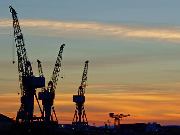 2 glasgow cranes sunset