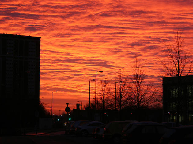 9 glasgow tower block sunset