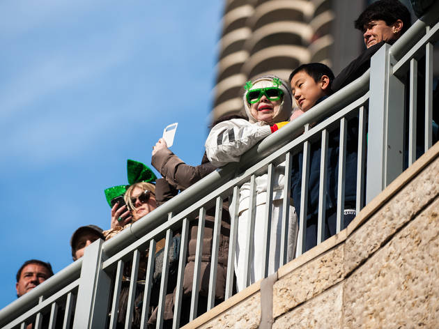 The river and streets turned green as onlookers gathered for Chicago's downtown St. Patrick's Day Parade, March 14, 2015.