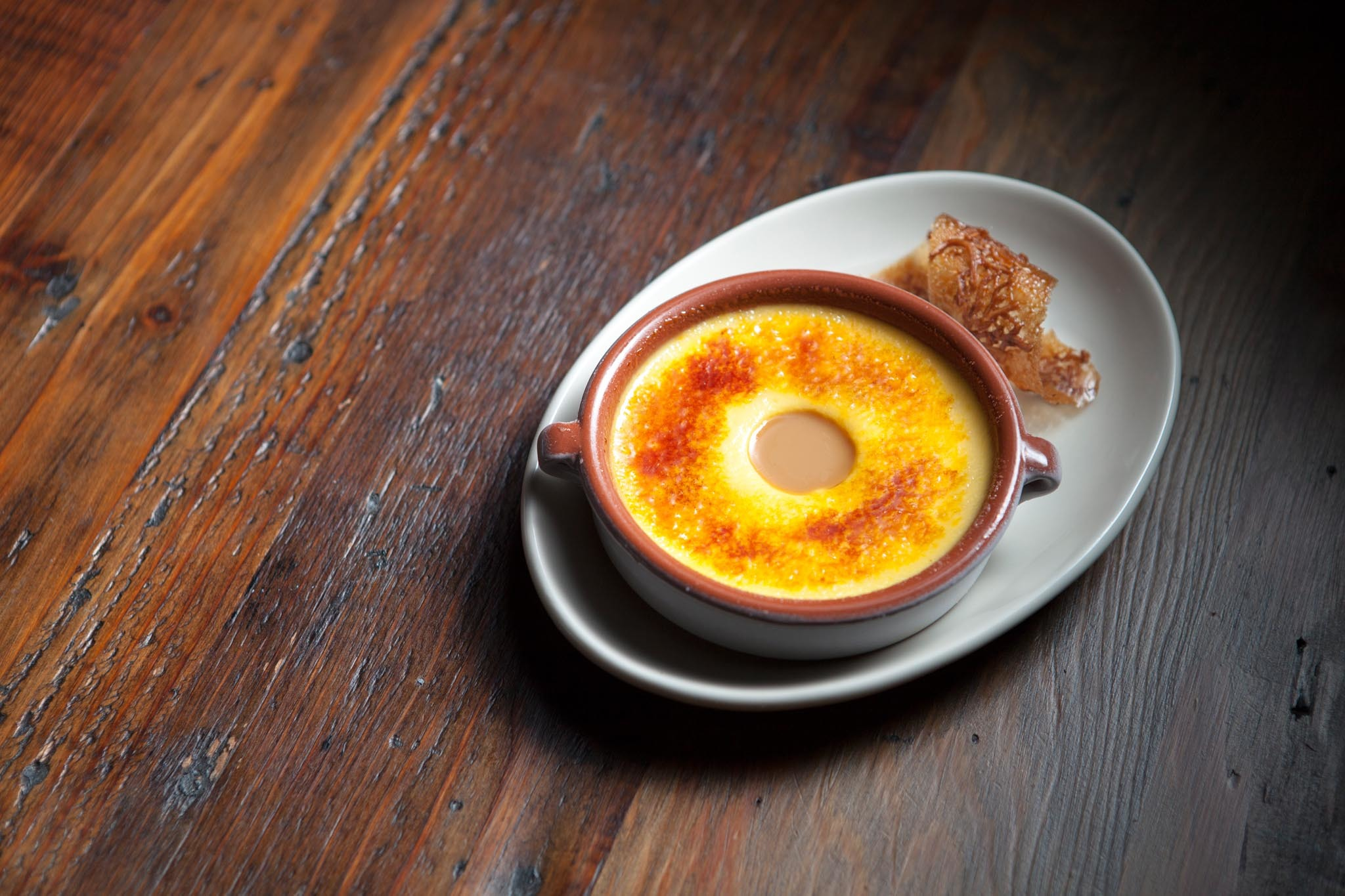 Goat milk custard brûlée at Odys + Penelope