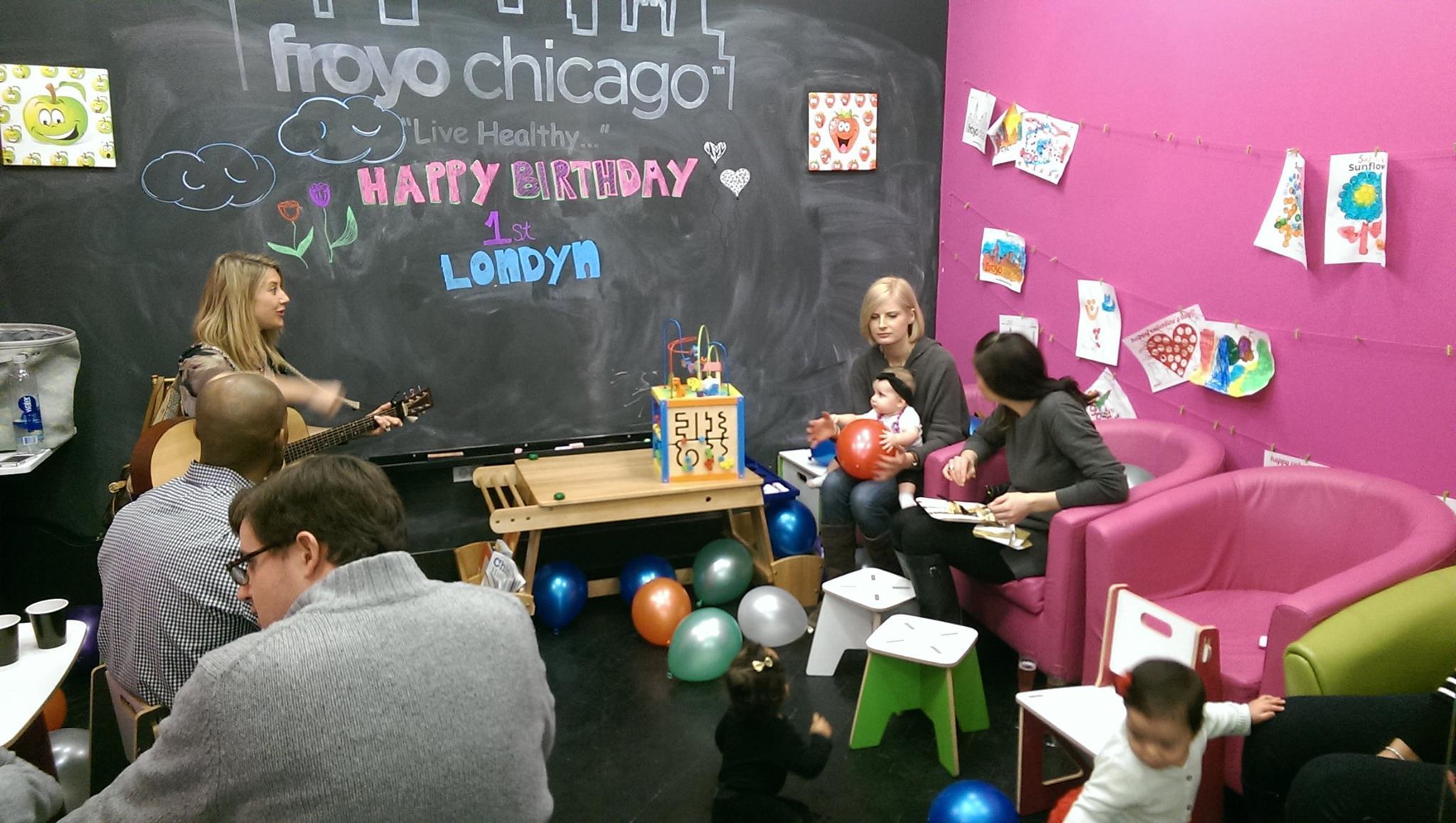 Yogurt and playtime at FroYo Chicago