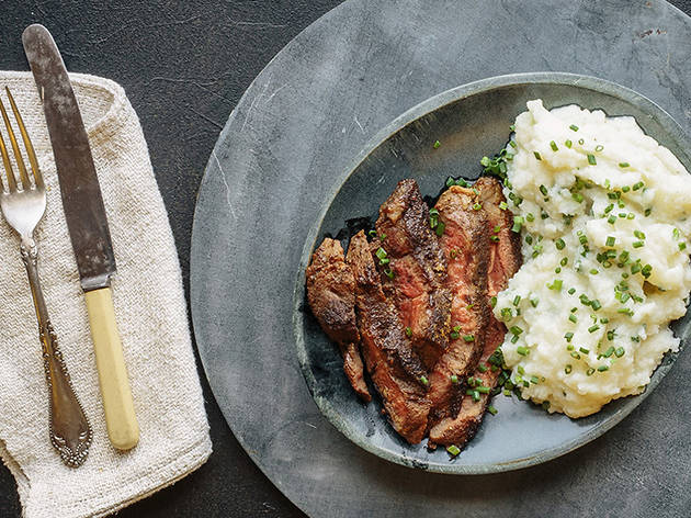Mushroom crusted flat iron steak with cauliflower mash
