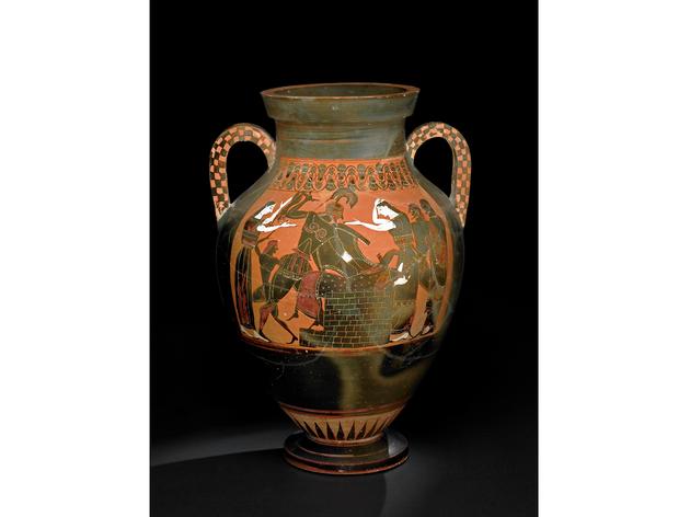 (Pottery: black-figured amphora: the death of Priam. Greek, 550BC-540BC (circa). Vulci, Lazio, Italy. © The Trustees of the British Museum)