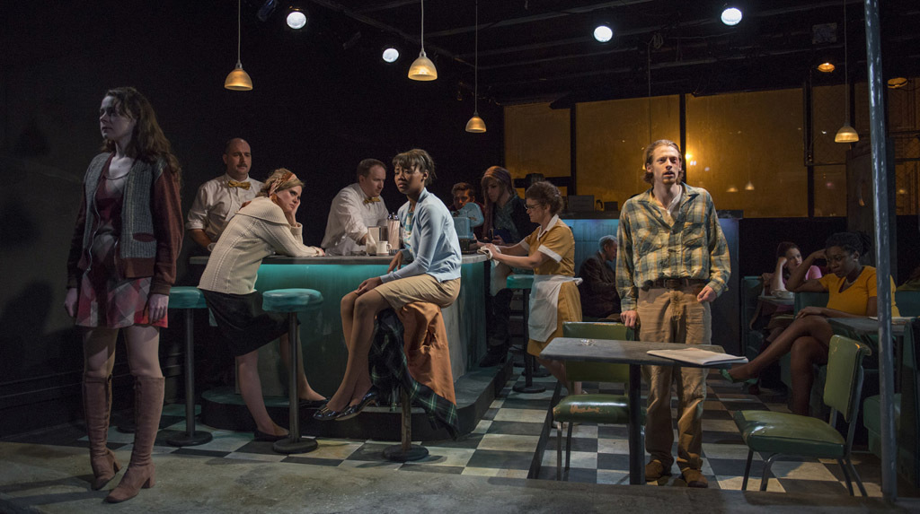 Joanne Dubach, Paige Smith, Cyd Blakewell, Johnny Moran, Ashleigh LaThrop, Nate Santana, Alexander Lane, Lynda Shadrake, Gabe Franken, Andrew Burden Swanson, Natalie DiCristofano and Echaka Agba in Balm in Gilead at Griffin Theatre Company
