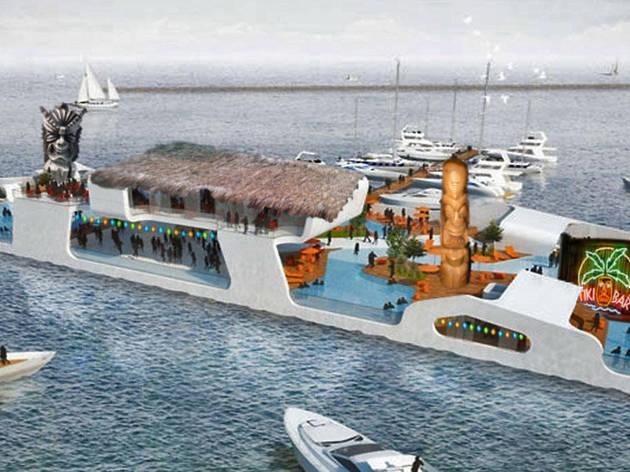 Paul McGee's floating tiki island