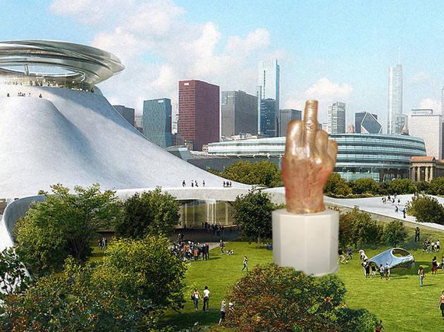 Rahm Emanuel statue on future site of Lucas Museum