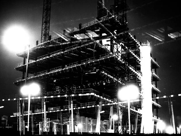 Black and white photo of building construction in Nine Elms, south London.