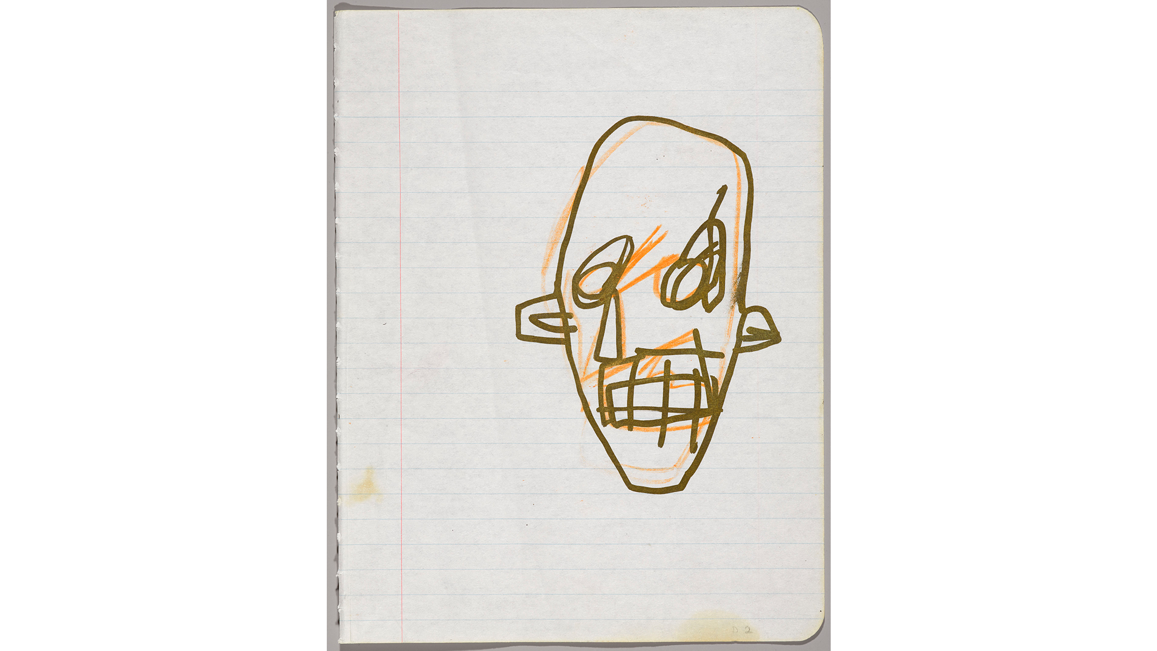 Jean-Michel Basquiat (American, 1960–1988). Untitled Notebook Page, 1980–81. Metallic ink and ink wax crayon on ruled notebook paper, 9 5/8 x 7 5/8 in. (24.5 x 19.4 cm).