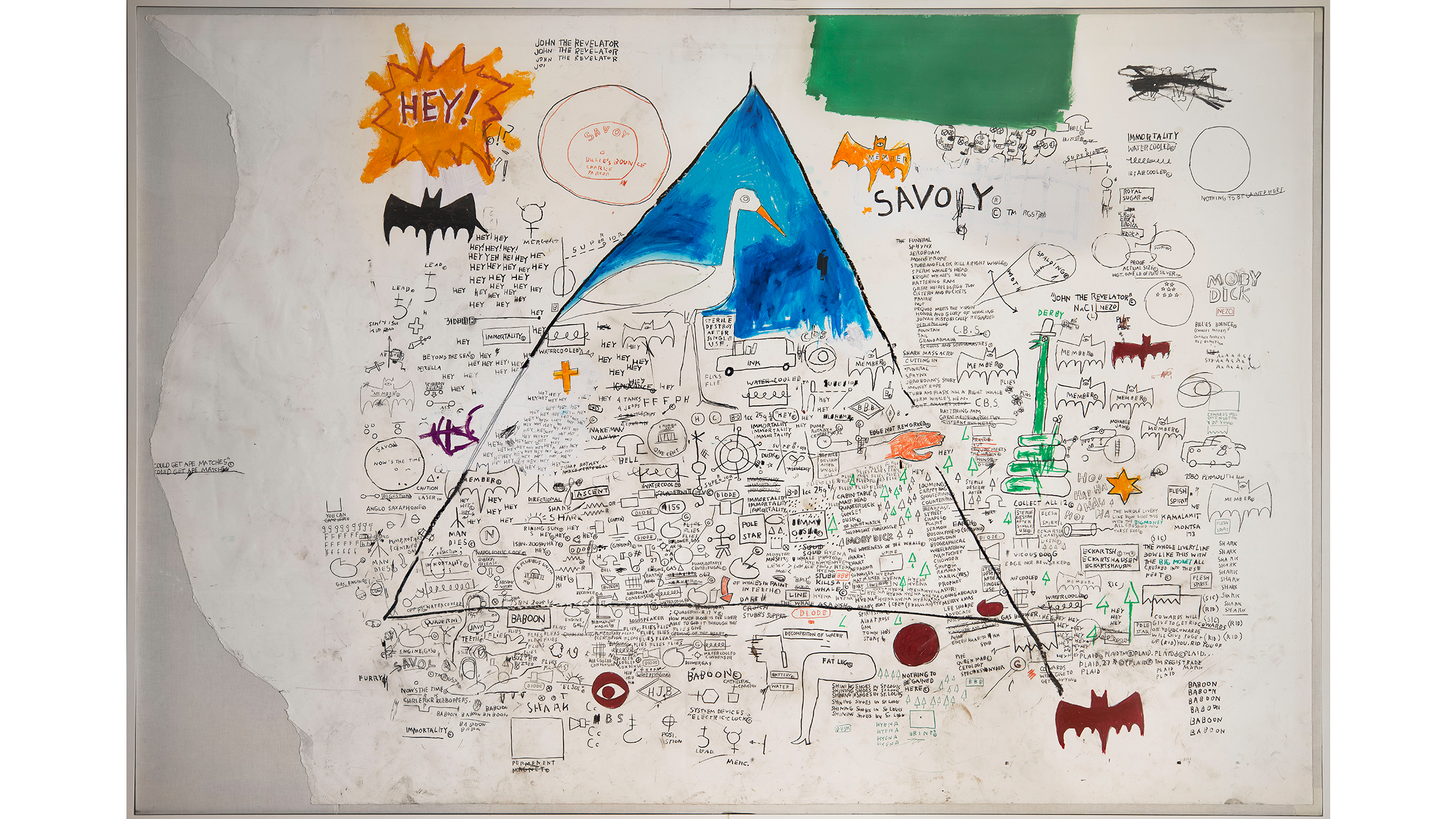 Jean-Michel Basquiat (American, 1960–1988). Untitled, 1986. Acrylic, collage, and oilstick on paper on canvas, 94 1/8 x 136 2/5 in. (239 x 346.5 cm).