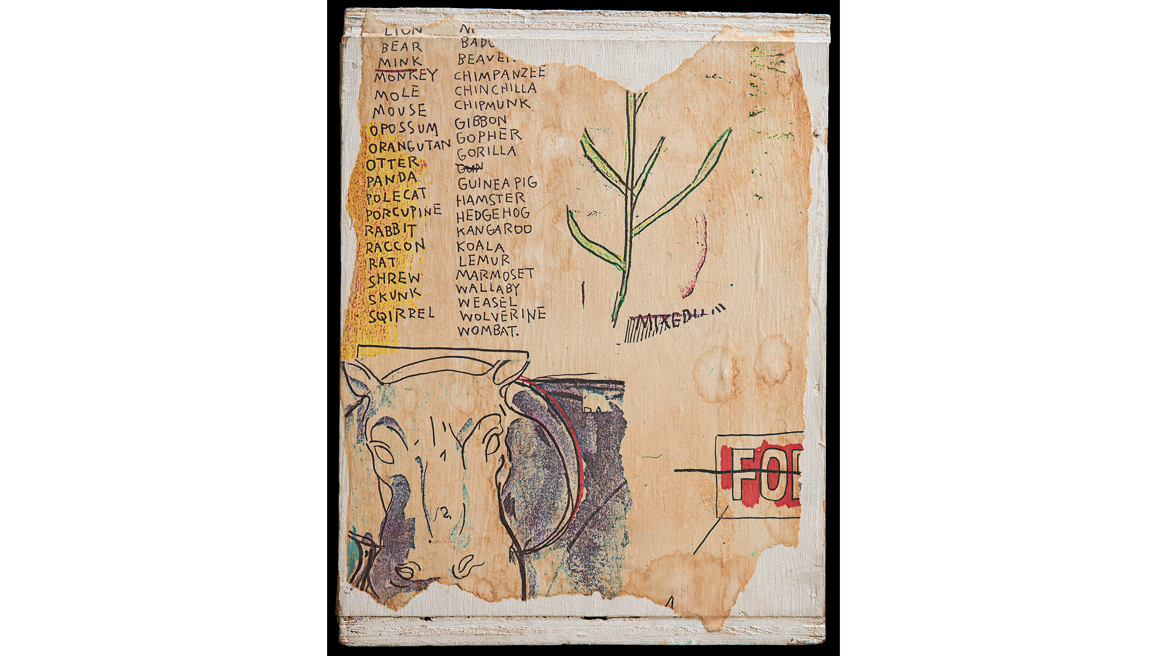 Jean-Michel Basquiat (American, 1960–1988). Untitled (alternate view), 1985. Xerox collage on wood box, overall 11 1/8 x 8 1/2 x 8 1/2 in. (28.26 x 21.59 x 21.59 cm).