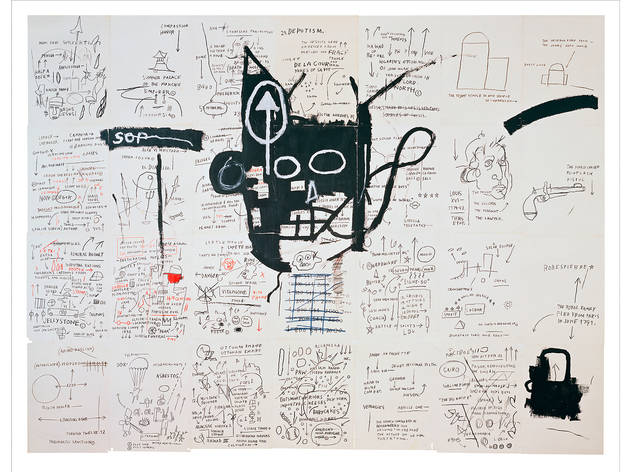 Jean-Michel Basquiat (American, 1960–1988). Untitled, 1982–83. Oilstick, colored pencil, crayon, and gouache on paper mounted on canvas, 96 x 126 in. (243.8 x 320 cm).