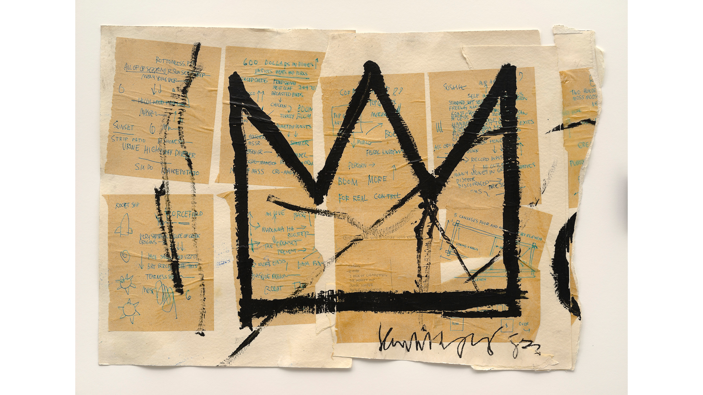 Jean-Michel Basquiat (American, 1960–1988). Untitled(Crown), 1982. Acrylic, ink, and paper collage on paper, 20 x 29 in. (50.8 x 73.66 cm).