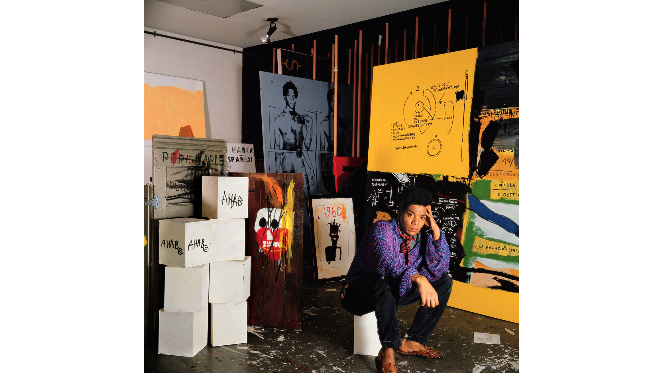 Tseng Kwong Chi (Chinese-Canadian-American, born Hong Kong, 1950–1990). Jean Michel Basquiat in his Great Jones Street studio, New York, 1987. Chromogenic print, 50 x 50 in. (127 x 127 cm).
