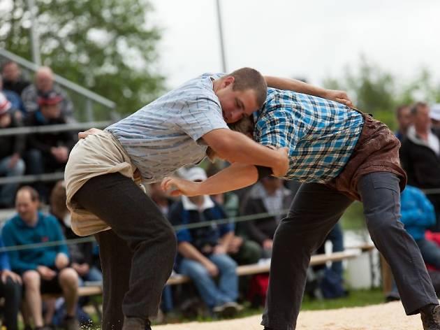 Alpine wrestling and herdsman festival