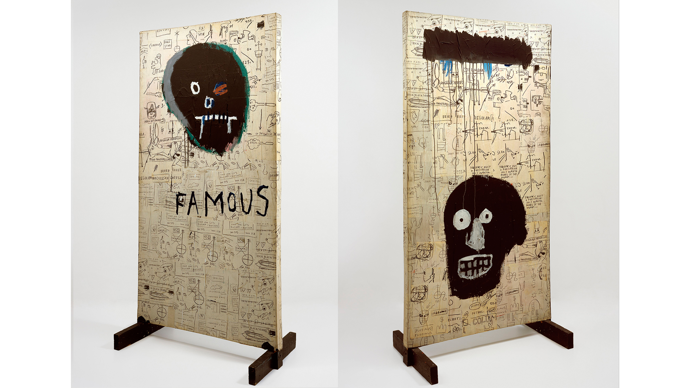 Jean-Michel Basquiat (American, 1960–1988). Famous (recto and verso), 1982. Acrylic and Xerox collage on canvas mounted on wood, 72 3/4 x 39 1/8 x 21 1/2 in. (184.8 x 99.4 x 54.6 cm).