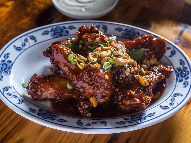 Kung pao chicken wings at Talde