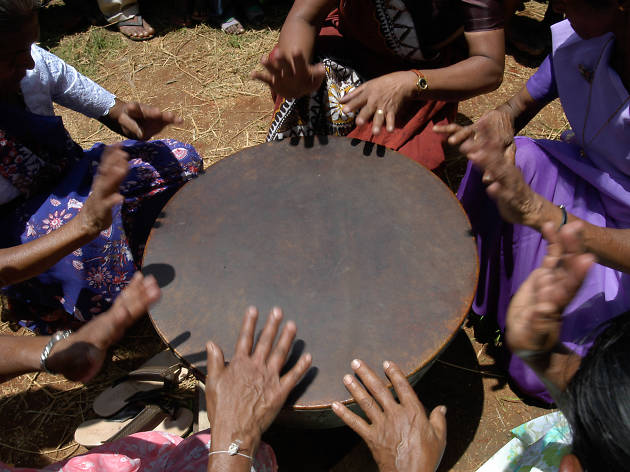 Playing the rabana in Sri Lanka