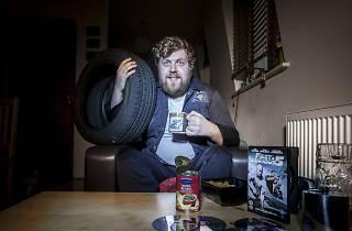 Tom Huddleston holds a tyre