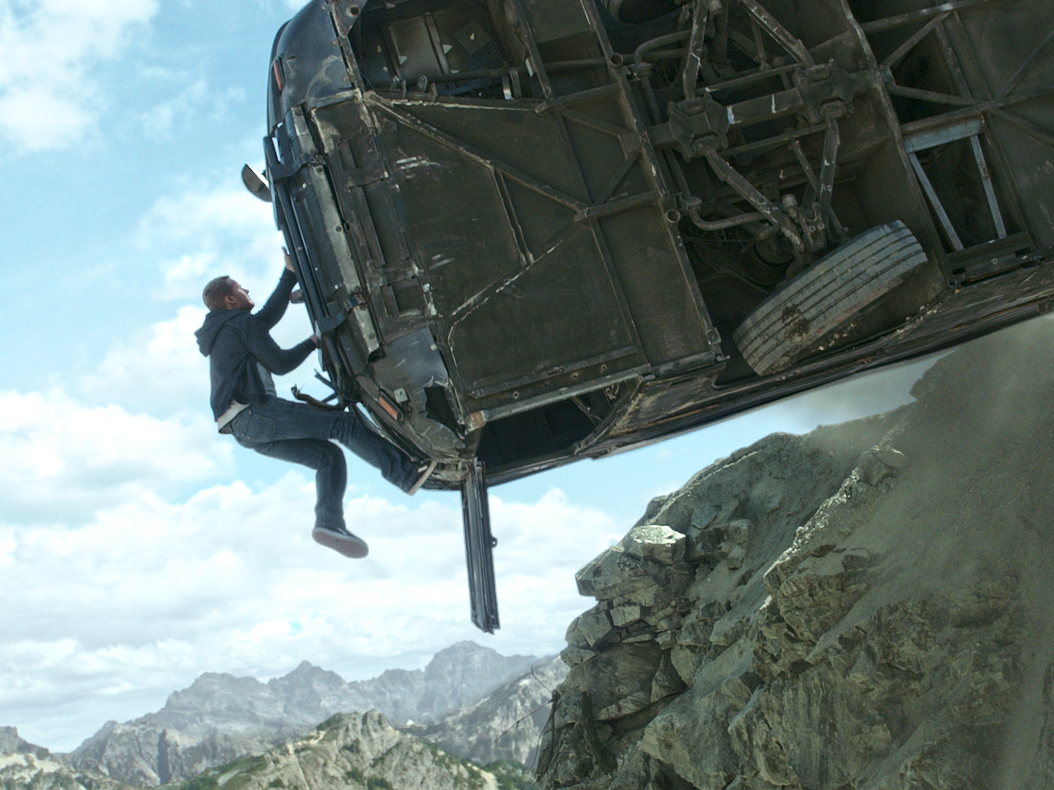 The bus stunt in 'Fast & Furious 7' (2015)