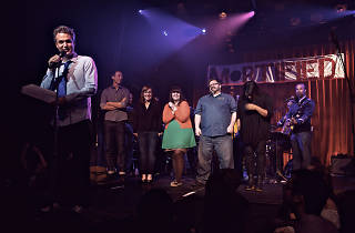 Host Dave Nadelberg on stage with 'Mortified' performers