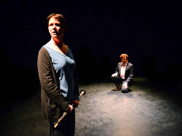 Diana Slickman and Colm O'Reilly in Song About Himself at Theater Oobleck