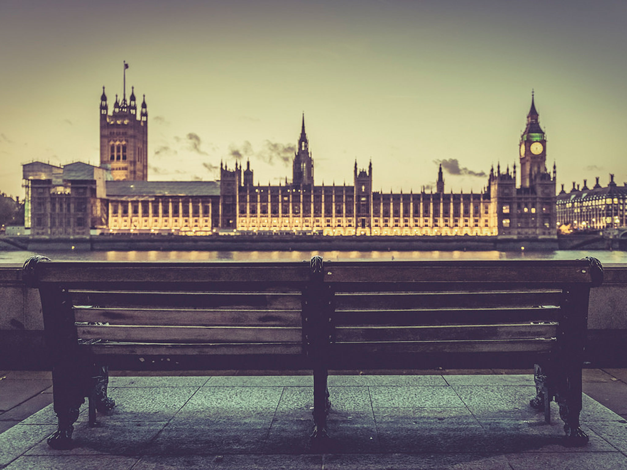 Parliament at dusk in London