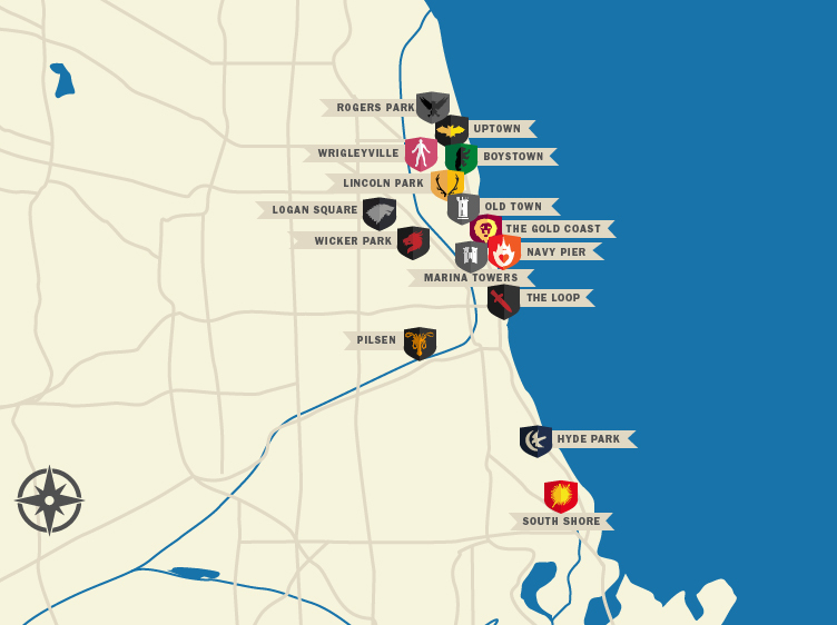 Map If Chicago What if Chicago were Game of Thrones?