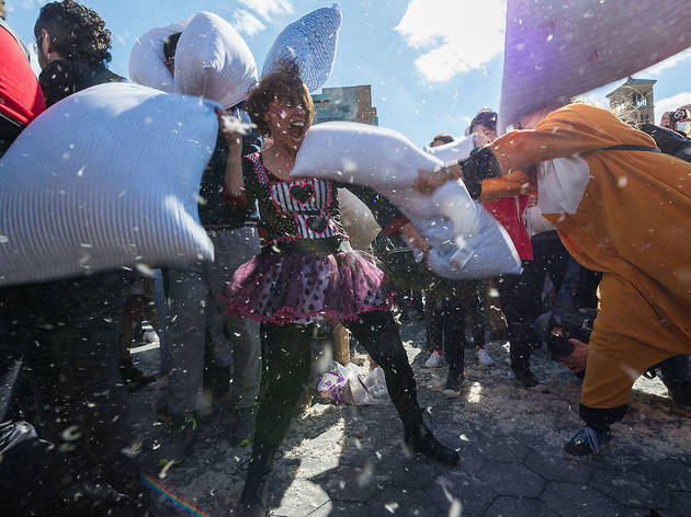 See fantastic photos from Pillow Fight NYC 2014