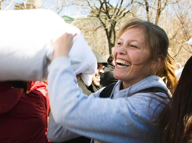 See all the feather-flinging photos from Pillow Fight NYC 2015