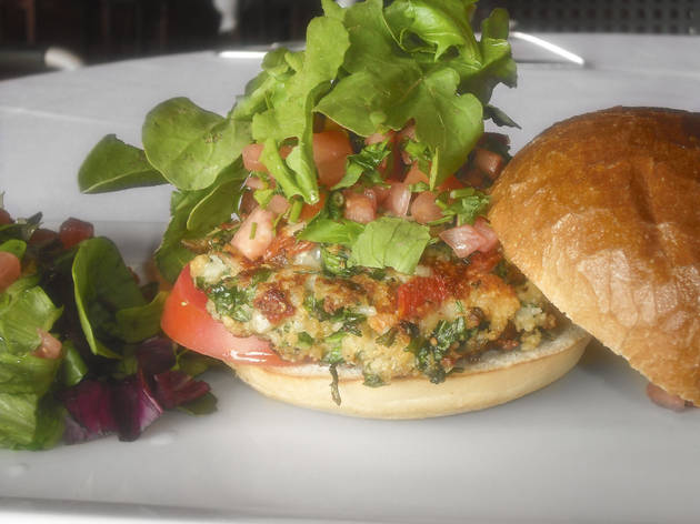 Spinach-nut burger at Figtree's Café & Grill