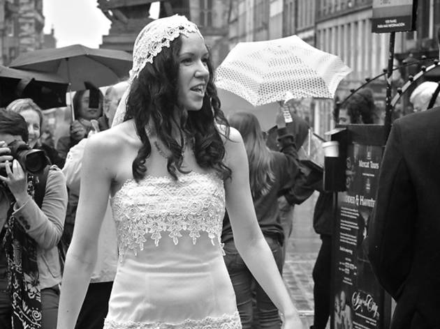 bride, dress, wedding, high street, royal mile