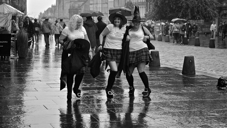 hen party rain high street witches