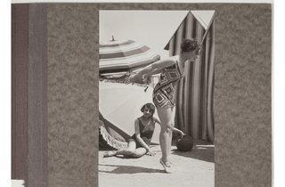 (Luigi Diaz: Two fashion models in bathing suits designed by Sonia Delaunay, c1929. )