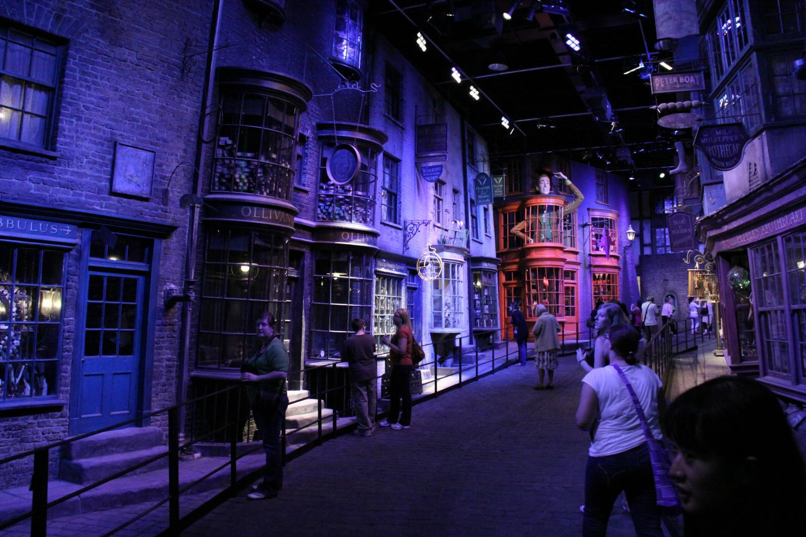 Visitors enjoy the Diagon Alley film set at the Making of Harry Potter tour at Warner Bros Studios