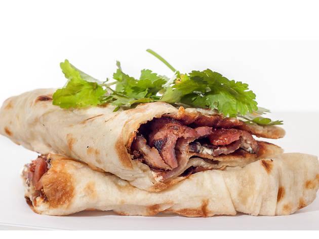 Bacon naan roll at Dishoom