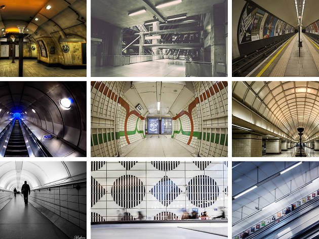 Collage of tube station photos