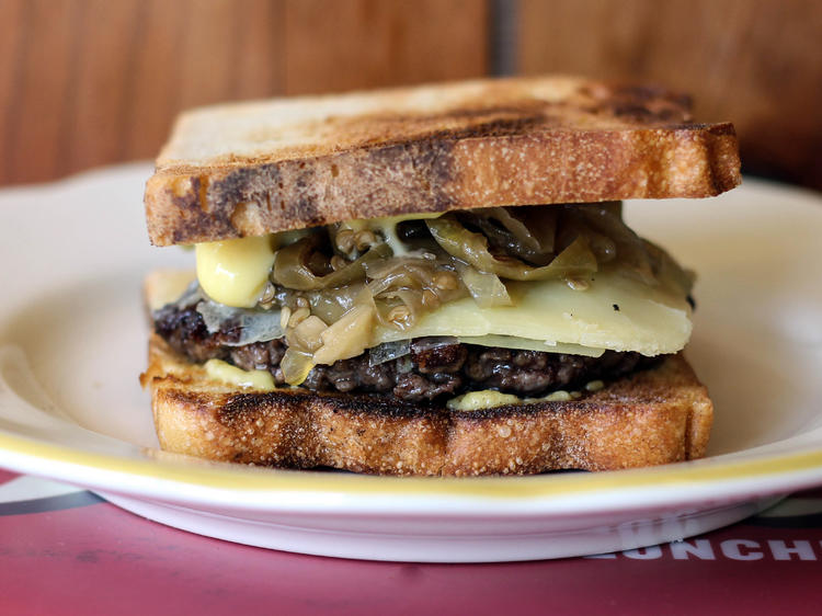 Dove's Double Cheeseburger at Dove's Luncheonette