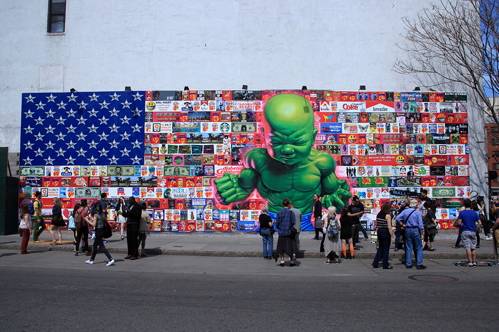 New Bowery wall mural goes up with Old Glory and baby Hulk onboard