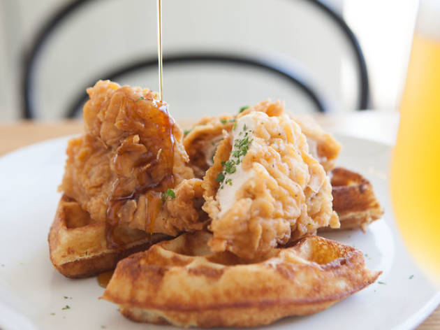 GT Fish & Oyster is serving up fried chicken and waffles for Mother's Day brunch.