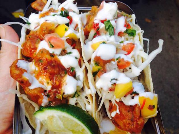 Mission Mariscos street food Baja fish tacos