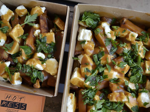Hot Mess street food poutine with chips, cheese and gravy
