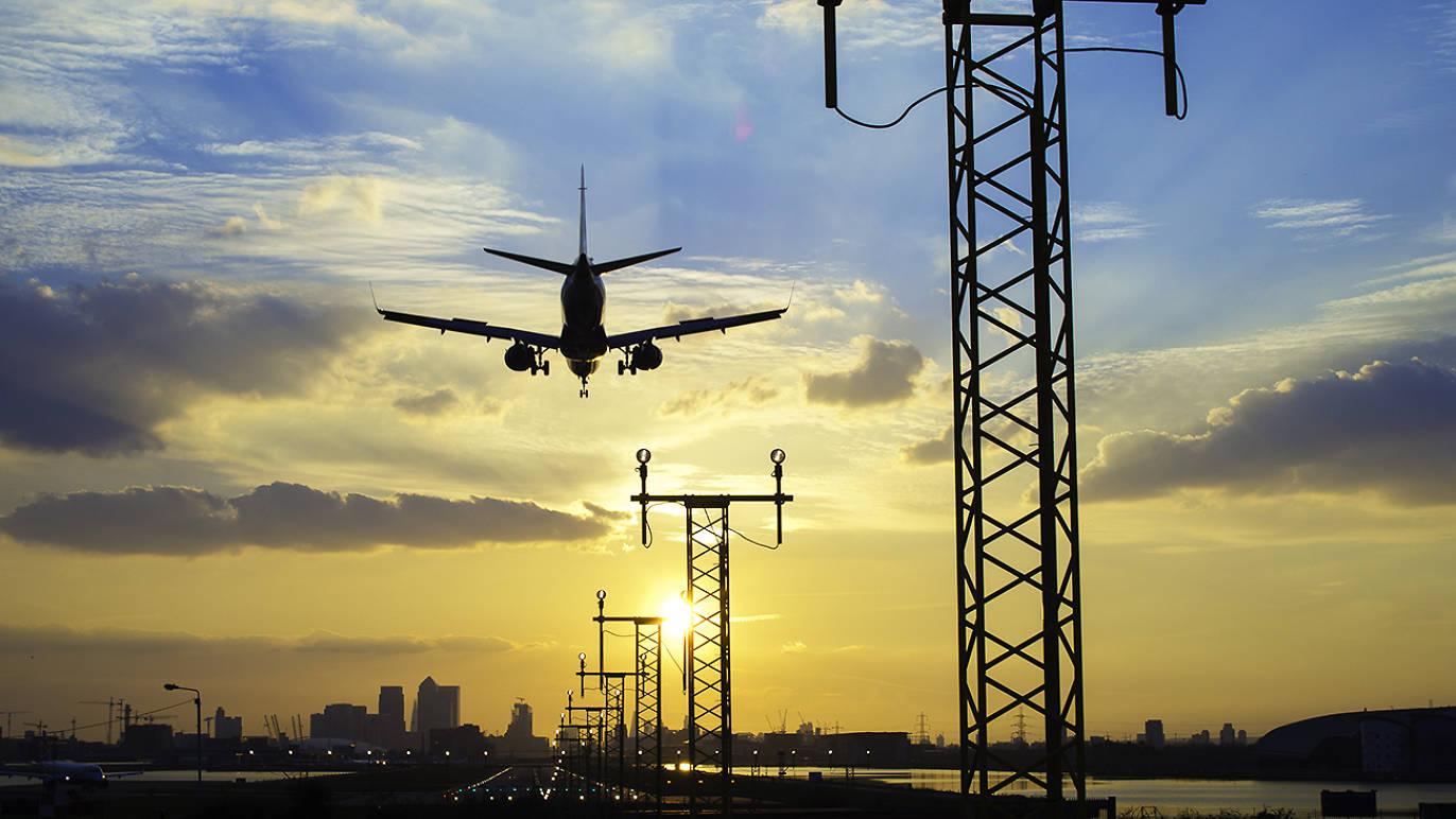 plane, airport, sunset, london
