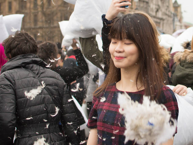 Pillow Fight Day 2015 in London, England.