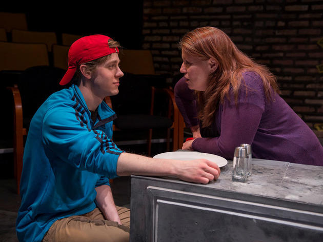 Brendan Meyer and Tara Mallen in Look, we are breathing at Rivendell Theatre Ensemble