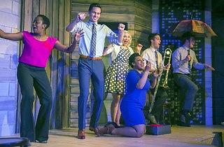 Lisa Beasley, Tim Ryder, Carisa Barreca, Rashawn Nadine Scott, Eddie Mujica and Scott Morehead in Soul Brother, Where Art Thou? at Second City e.t.c.
