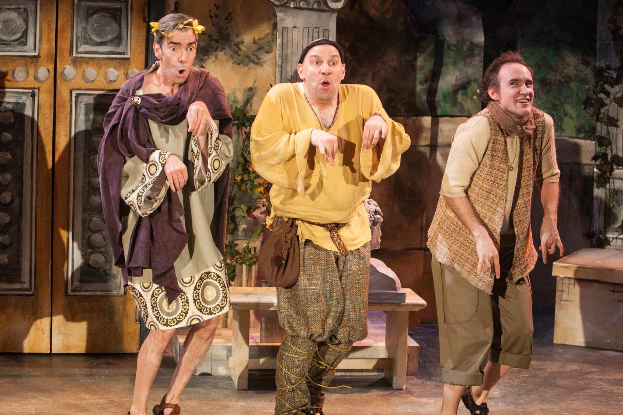 Will Clinger, Bill Larkin and Matt Crowle in A Funny Thing Happened on the Way to the Forum at Porchlight Music Theatre