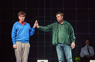 Joshua Jenkins (Christopher) and Stuart Laing (Ed) in The Curious Incident of the Dog in the Night-Time UK Tour production